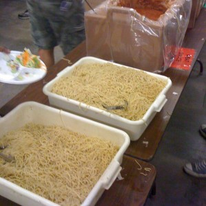 The night before the race, we had a big spaghetti dinner. Carbing up!