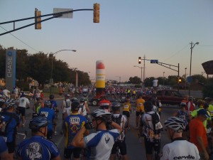 These are the riders in front